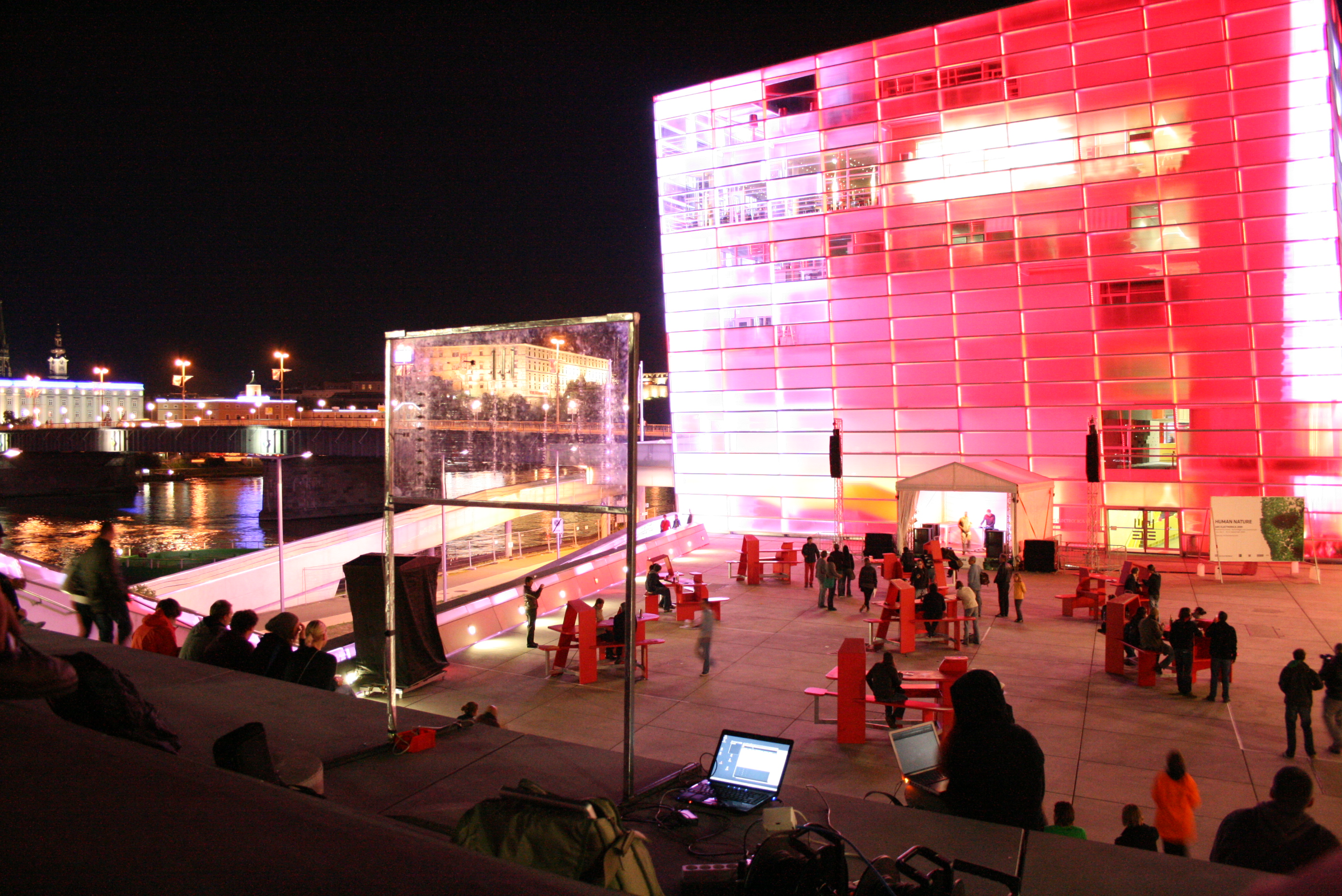 This picture shows the interface with the Ars Electronica Center in the background