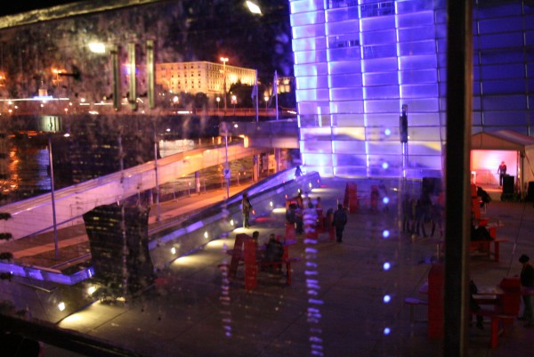 This picture shows a detail of the interface with the Ars Electronica Center in the background